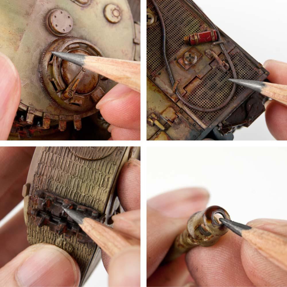 タイガーI/鉛筆での金属地の描き込み