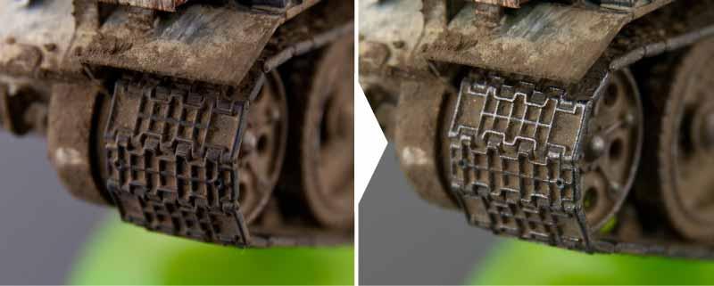 ドライブラシ前と後の比較