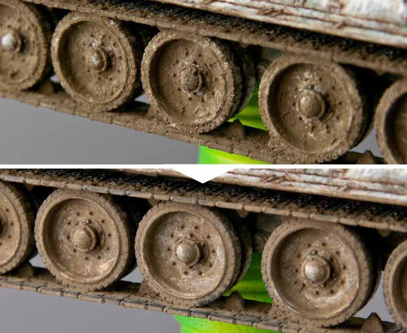 泥汚れを落とした後の転輪