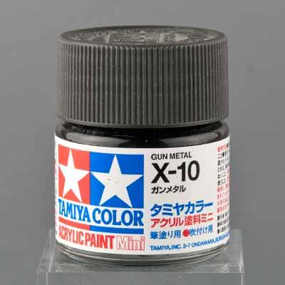 タミヤ 水性アクリル塗料 ガンメタル(X-10)