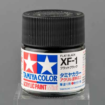 タミヤ 水性アクリル塗料 フラットブラック(XF-1)