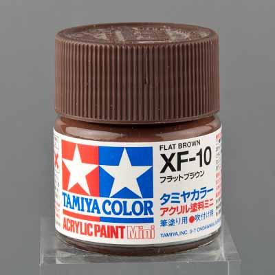 タミヤ 水性アクリル塗料 フラットブラウン(XF-10)