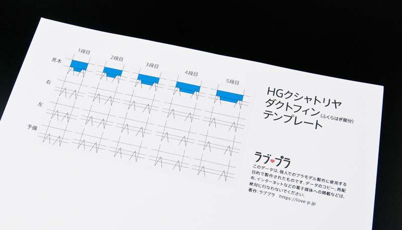 印刷したテンプレートデータ